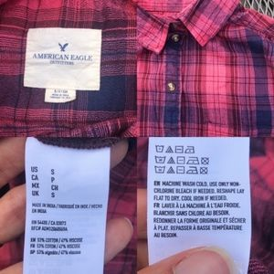 American Eagle Outfitters Tops - AEO plaid pink and blue button-down boxy top S